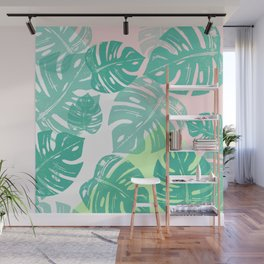 Linocut Monstera Tricolori Wall Mural