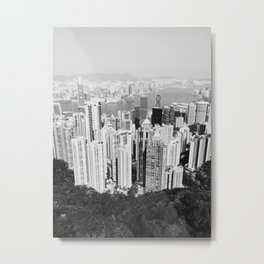Hong Kong Cityscape // Sky Scraper Skyline Landscape Photography Black and White Buildings Metal Print