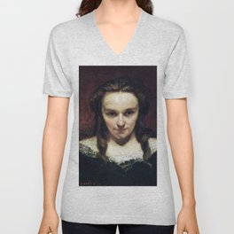 Gustave Courbet - The Clairvoyant - The Somnambulist - The Sleepwalker - La voyante - La Somnambule Unisex V-Neck