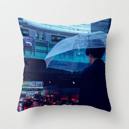 Tokyo Nights / Rain over Tokyo / Liam Wong Throw Pillow