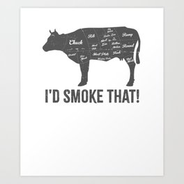 Cow I'd Smoke That BBQ Fathers Day Art Print