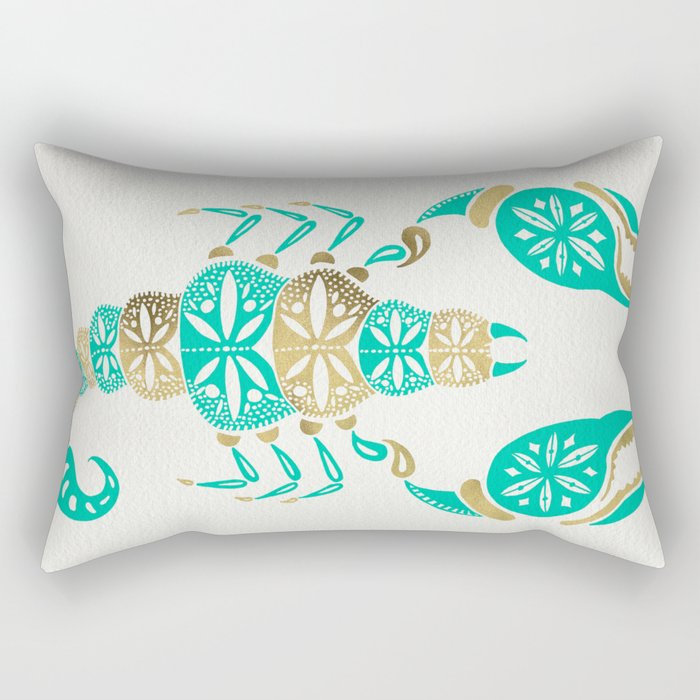 Scorpion – Turquoise & Gold Rectangular Pillow