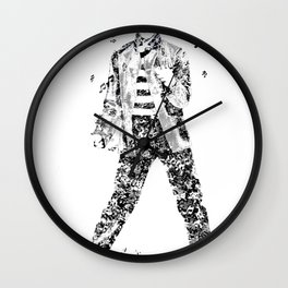 Elvis Presley Jailhouse Rock Text Portrait (Black and White) Wall Clock