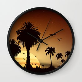 Sunsets and sunrises over the savanna with palm trees Wall Clock