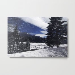 Star Trails in Mount Rainier National Park Metal Print