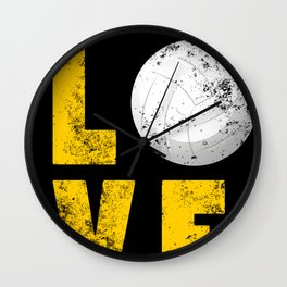 Funny Love Volleyball design GIft for Sport Lovers Wall Clock