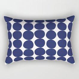 Midcentury Modern Dots Navy Rectangular Pillow