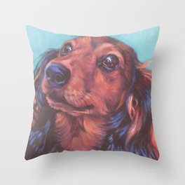 The long haired Dachshund from an original painting by L.A.Shepard Throw Pillow