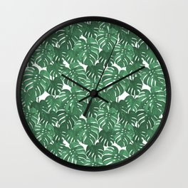 Monstera house plant leaf green painting pattern trendy hipster indoor house plant tropical garden   Wall Clock