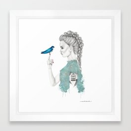 Bluebird girl Framed Art Print