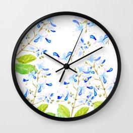 blue butterfly flowers arrangement watercolor Wall Clock