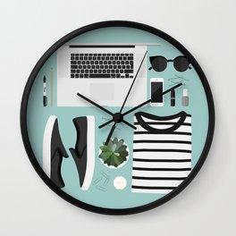 Flatlay Illustration Wall Clock