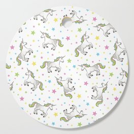 Unicorns and Stars - White and Rainbow scatter pattern Cutting Board