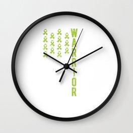 Warrior Lime Green Ribbon Non Hodgkin Cancer Awareness Wall Clock