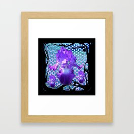 MODERN LILAC PURPLE IRIS BABY BLUE BLACK ART Framed Art Print