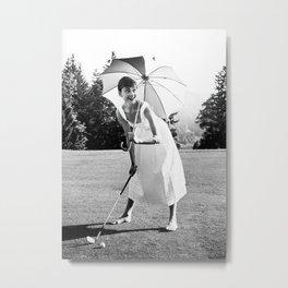 Audrey Hepburn Playing Golf, Black and White Vintage Art Metal Print