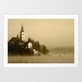 Misty Lake Bled in Sepia Art Print