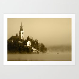 Misty Lake Bled in Sepia Art Print