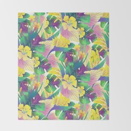 Yellow tropical plam leaves Throw Blanket