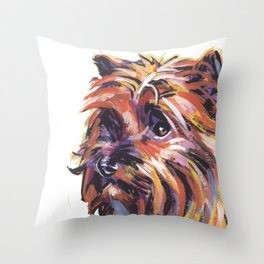Fun Red Cairn Terrier Dog Portrait bright colorful Pop Art by LEA Throw Pillow