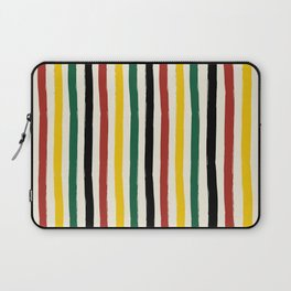 Rustic Lodge Cabana Stripes Black Red Yellow Green Laptop Sleeve