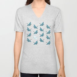 PAPER CRANES BABY BLUE AND YELLOW Unisex V-Neck