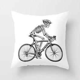 Human skeleton riding racing bicycle Throw Pillow