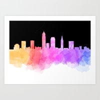 cleveland Art Prints featuring Cleveland Skyline by Emily Brady