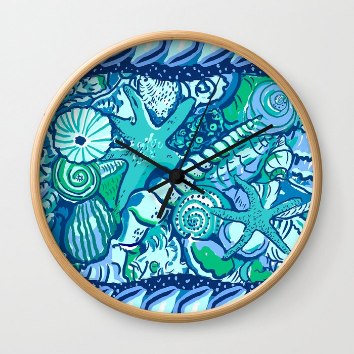 She Sells Sea Shells Blue Wall Clock
