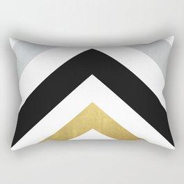 Minimalist Geometric - Black & Gold Rectangular Pillow