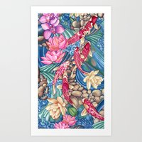 koi Art Prints featuring Koi Pond by Vikki Salmela