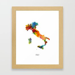 Italy Watercolor Map Framed Art Print