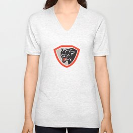 Black Cat Panther Head Shield Unisex V-Neck