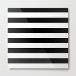 Even Horizontal Stripes, Black and White, L Metal Print