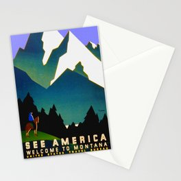 See America Montana - Retro Travel Poster Stationery Cards