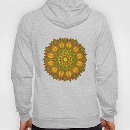 Flower Mandala With Glowing Shades of Yellow Hoody