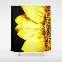 sunflower Shower Curtains featuring sunflower by PureVintageLove