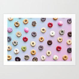 Rainbow Donuts Pattern Art Print