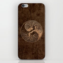Rough Wood Grain Effect Tree of Life Yin Yang iPhone Skin