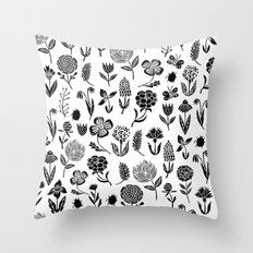 Linocut black and white floral botanical nature art pattern gifts home decor dorm college boho Throw Pillow