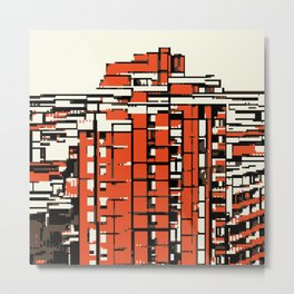 Pixelated Buildings in Belgrade Metal Print