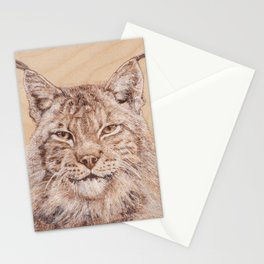 Lynx Portrait - Drawing by Burning on Wood - Pyrography Art Stationery Cards