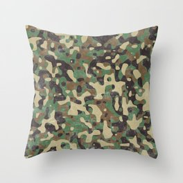 Distressed Army Camo Throw Pillow