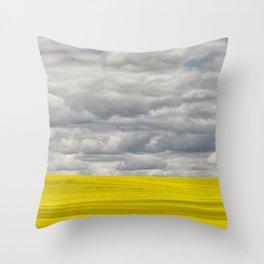Alberta Canola Field Dramatic Cloudy Grey Sky Throw Pillow