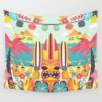 tiki Wall Tapestries featuring Tiki by Claire Lordon