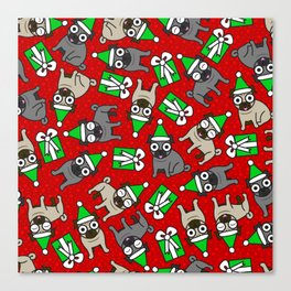 Merry Pugs Canvas Print