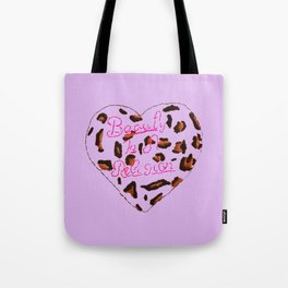 BeautyIsAReligion `Leopard Heart` Tote Bag