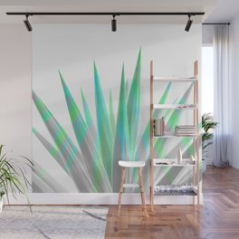 Tropical Allure - Green & Grey on White Wall Mural