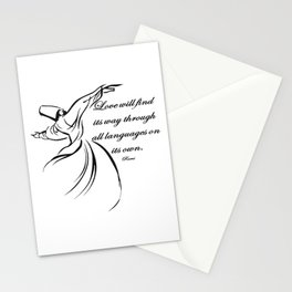 Love Will Find Its Way Through All Languages Rumi Quote Stationery Cards