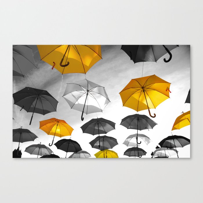 Yellow  is my color - Yellow and Black Umbrellas Canvas Print
